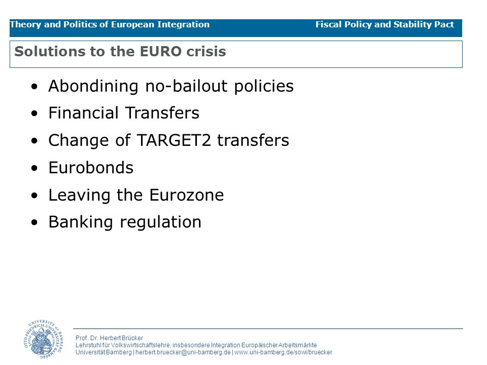 Solutions to the EURO crisis