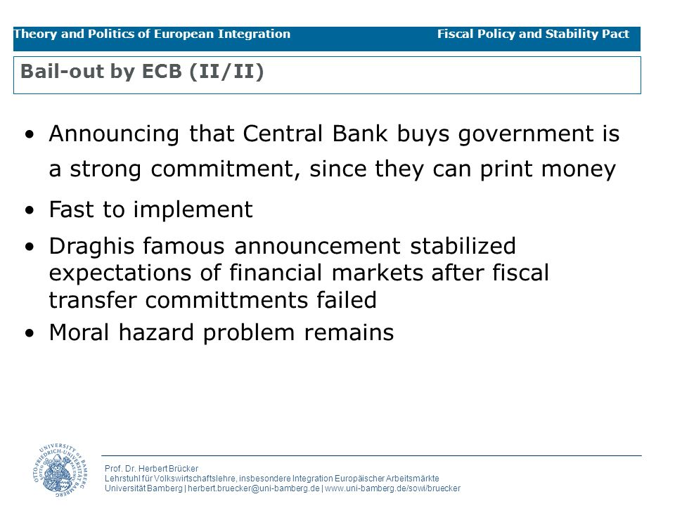 Bail-out by ECB (II/II)