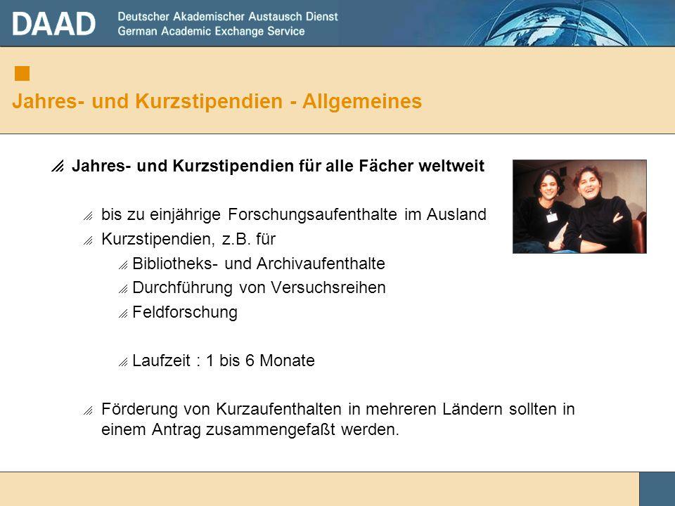 Jahres- und Kurzstipendien - Allgemeines