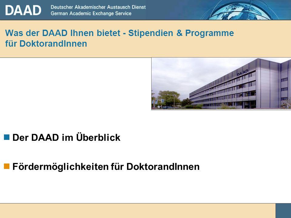 Was der DAAD Ihnen bietet - Stipendien & Programme für DoktorandInnen
