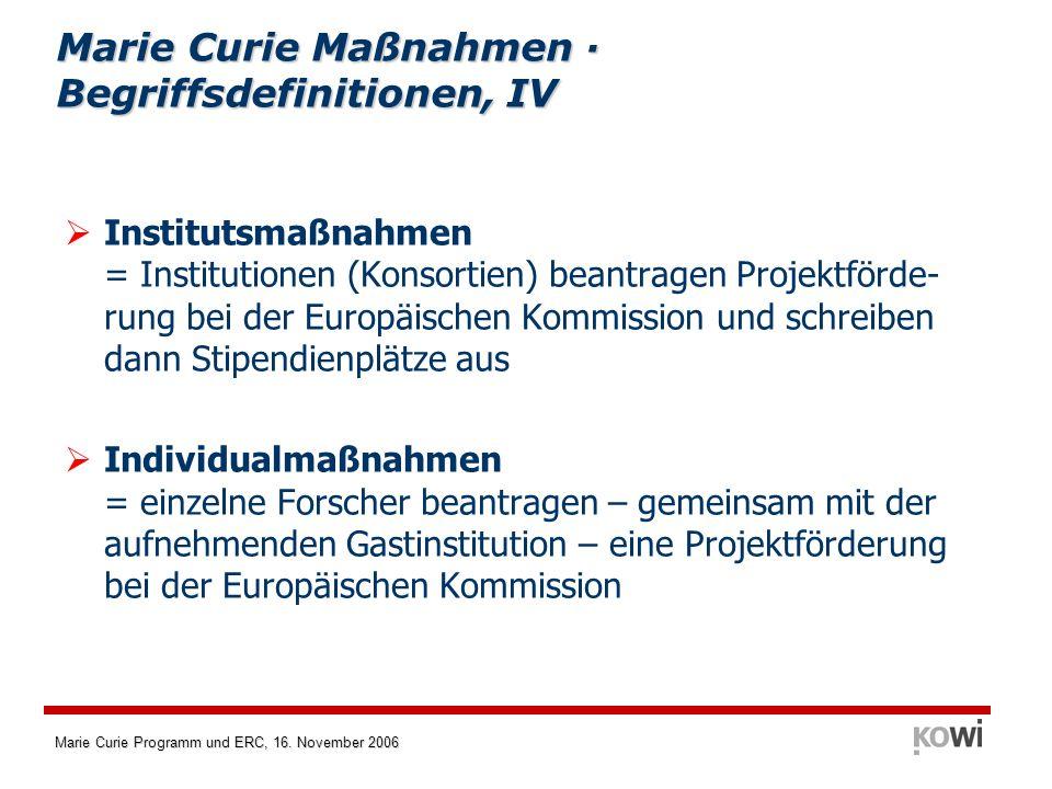 Marie Curie Maßnahmen · Begriffsdefinitionen, IV