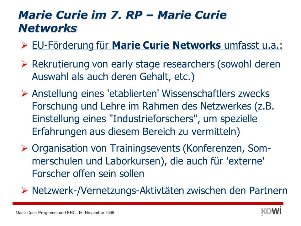 Marie Curie im 7. RP – Marie Curie Networks