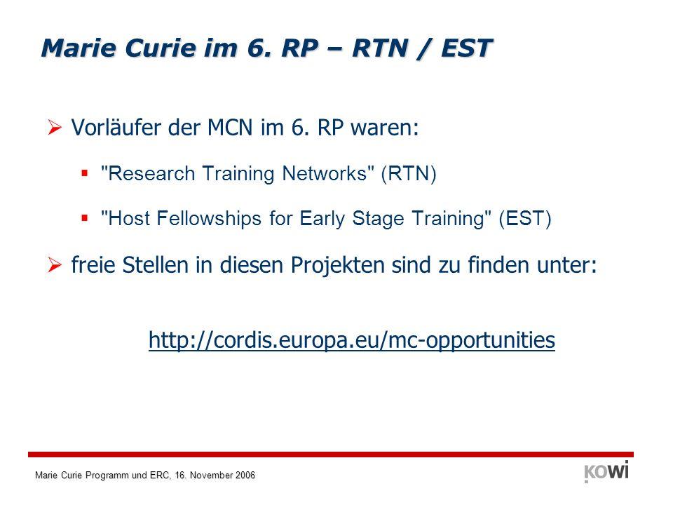 Marie Curie im 6. RP – RTN / EST