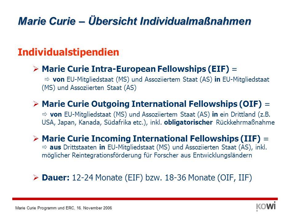Marie Curie – Übersicht Individualmaßnahmen