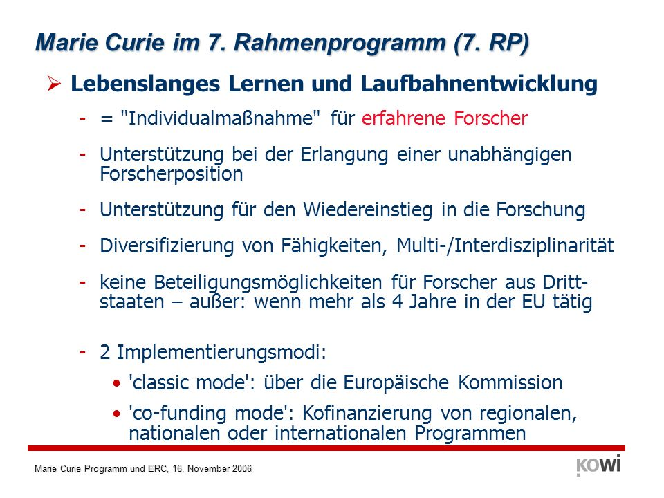 Marie Curie im 7. Rahmenprogramm (7. RP)