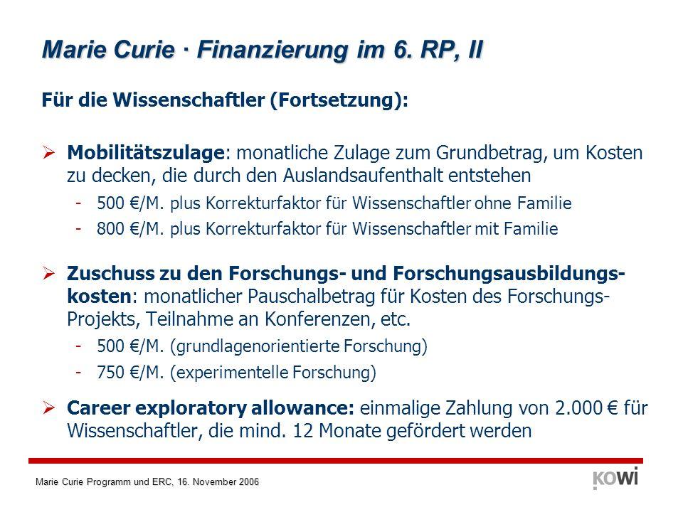 Marie Curie · Finanzierung im 6. RP, II