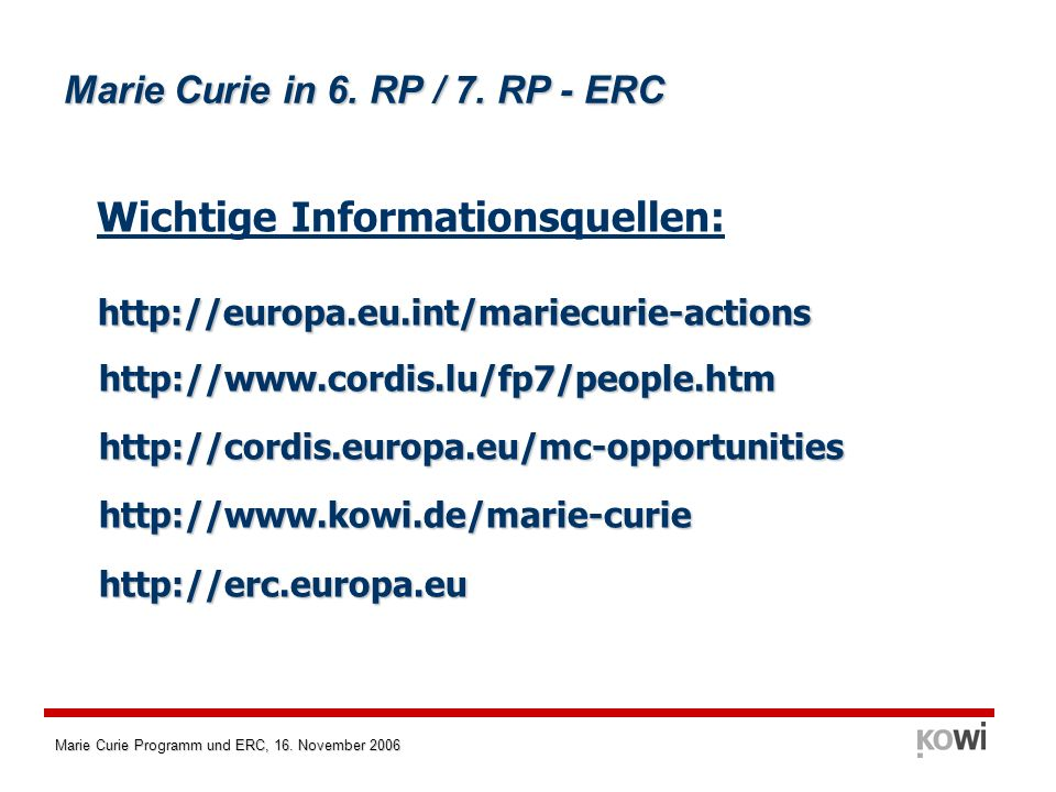 Marie Curie in 6. RP / 7. RP - ERC