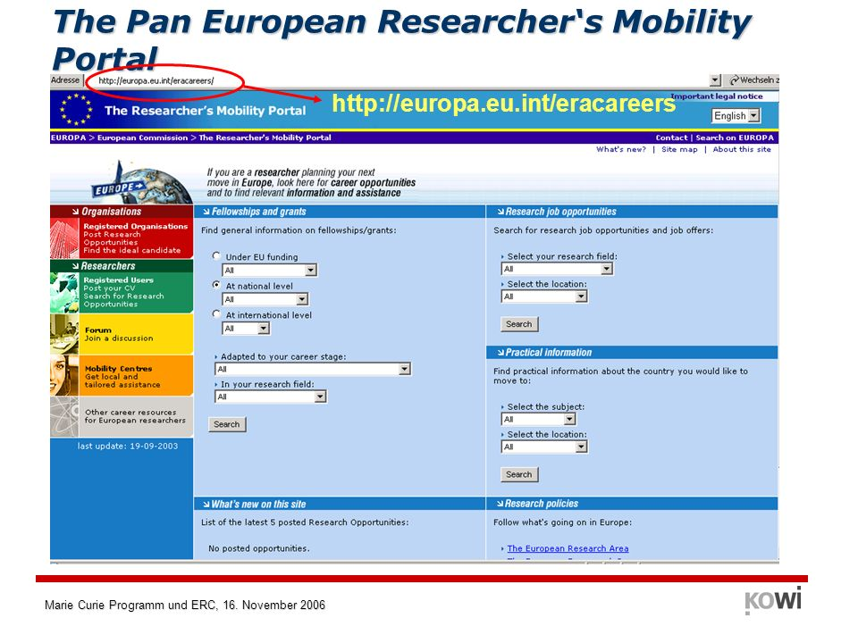The Pan European Researcher's Mobility Portal