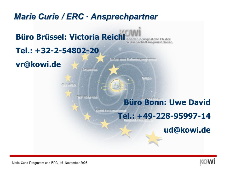 Marie Curie / ERC · Ansprechpartner