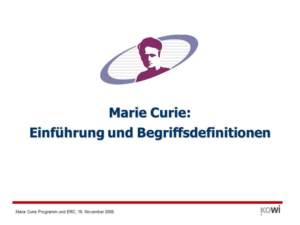 Marie Curie: Einführung und Begriffsdefinitionen