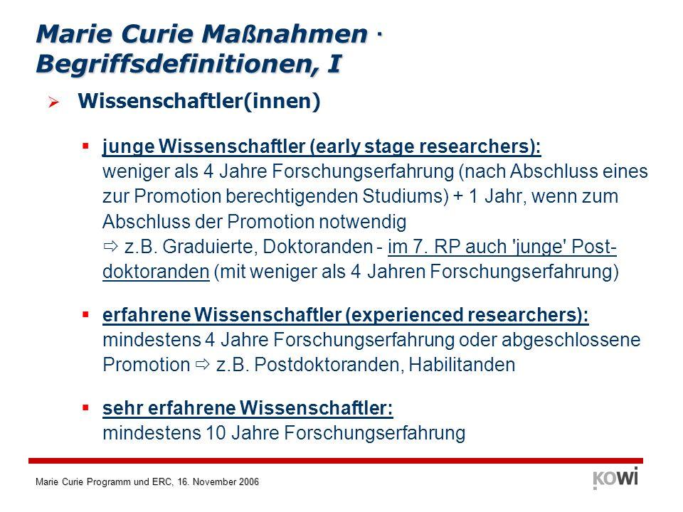 Marie Curie Maßnahmen · Begriffsdefinitionen, I