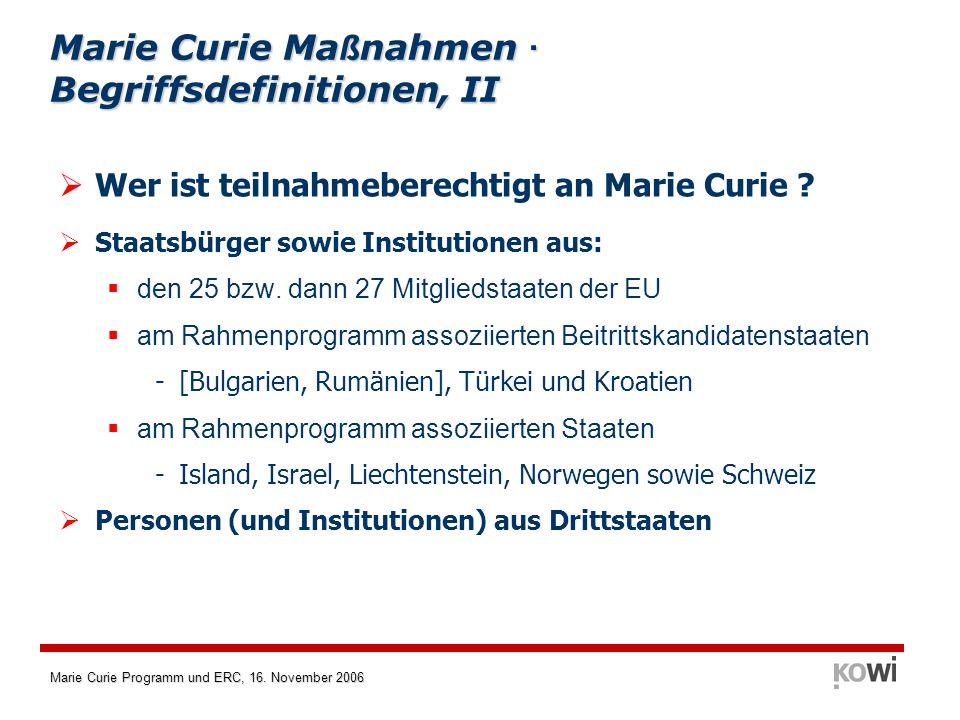 Marie Curie Maßnahmen · Begriffsdefinitionen, II