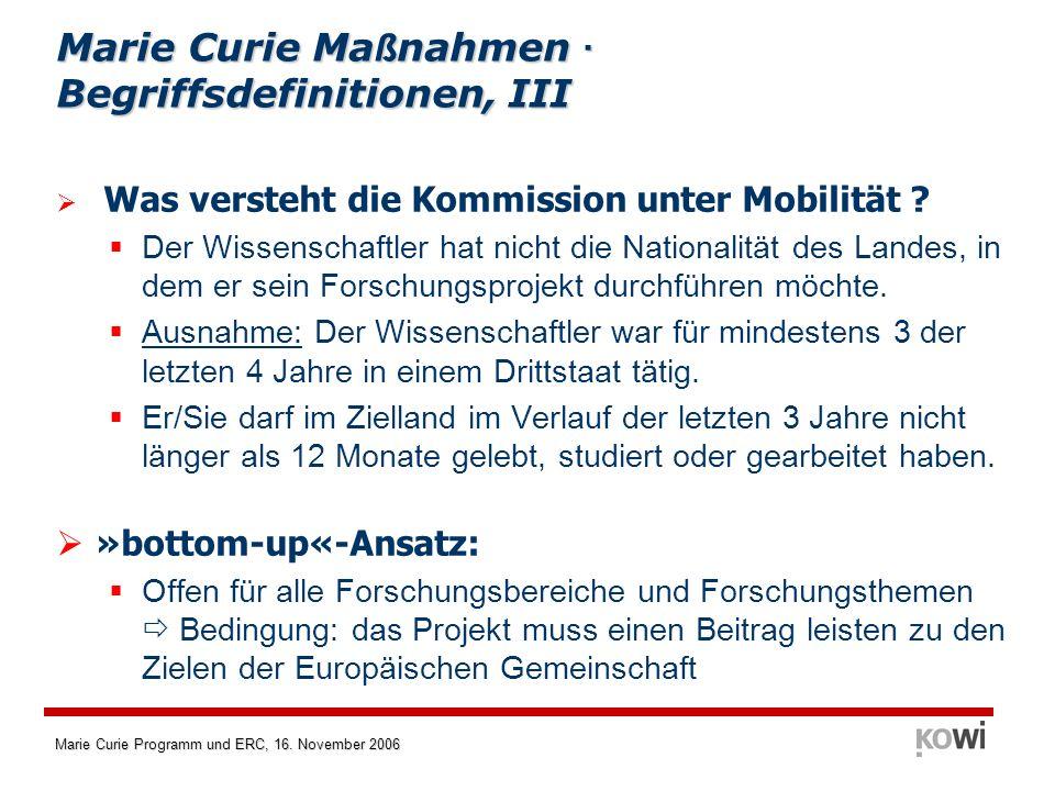 Marie Curie Maßnahmen · Begriffsdefinitionen, III