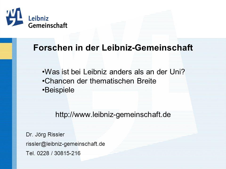 Forschen in der Leibniz-Gemeinschaft