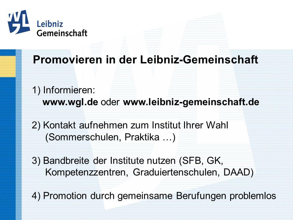 Promovieren in der Leibniz-Gemeinschaft