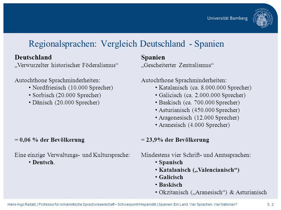 Regionalsprachen: Vergleich Deutschland - Spanien