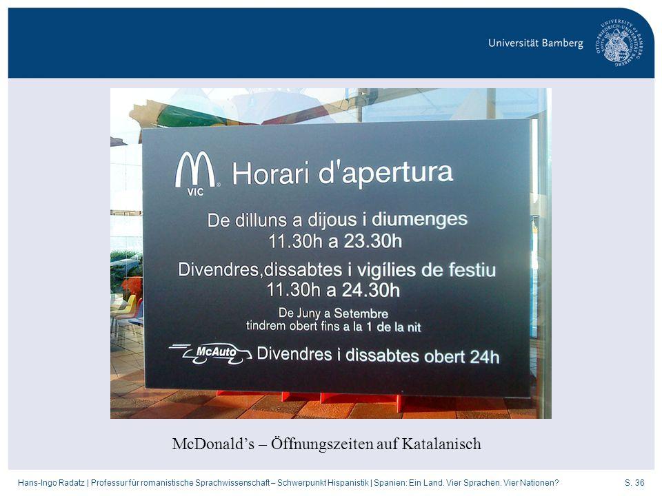 McDonald's – Öffnungszeiten auf Katalanisch