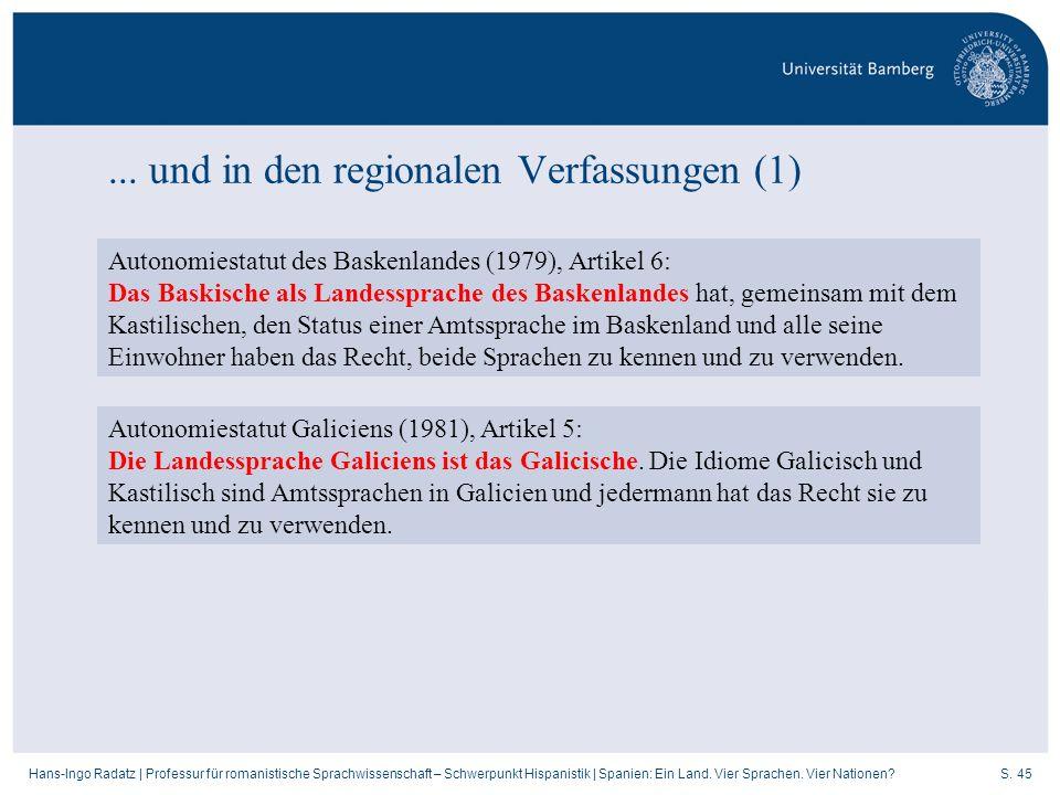 ... und in den regionalen Verfassungen (1)
