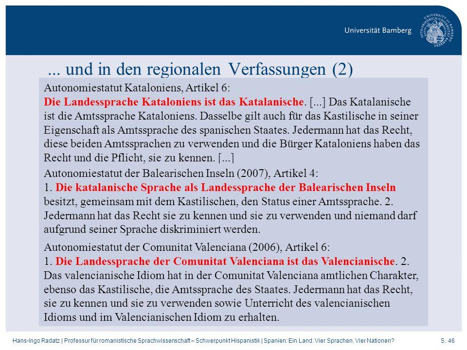 ... und in den regionalen Verfassungen (2)