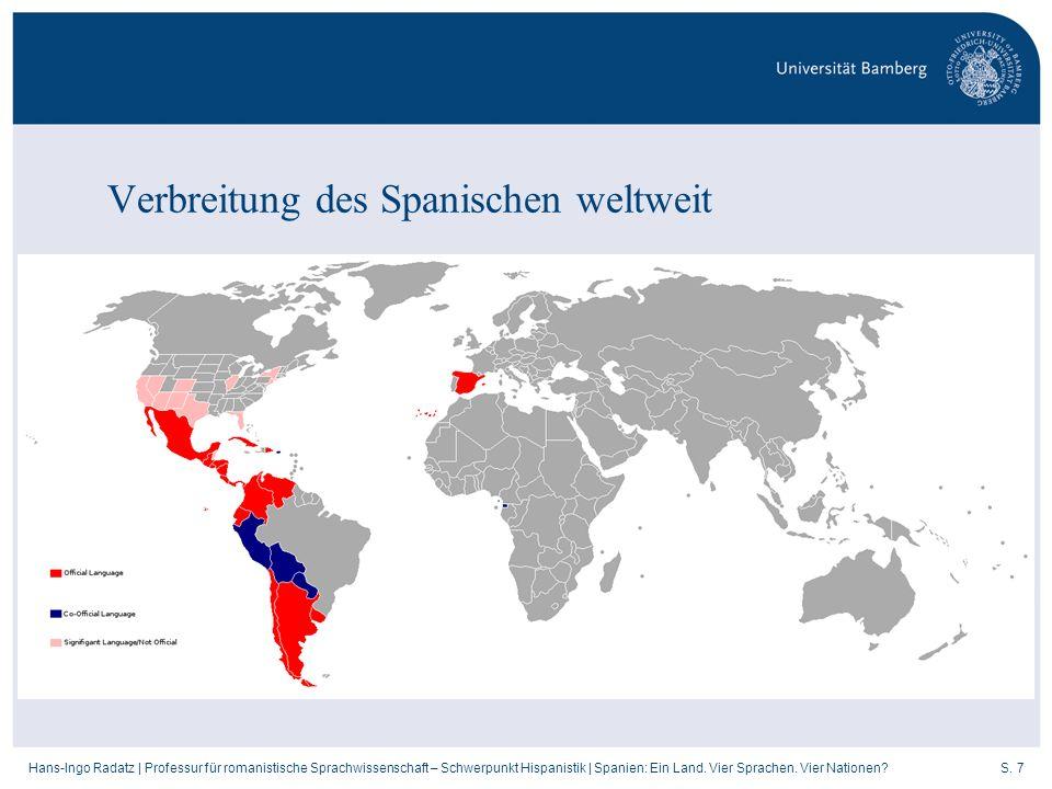 Verbreitung des Spanischen weltweit