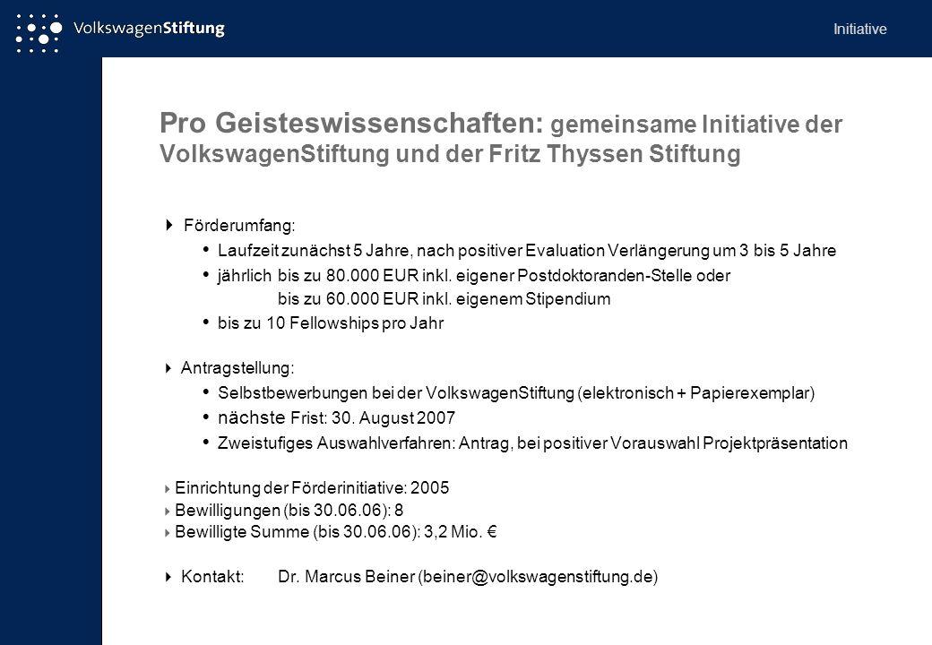 Initiative Pro Geisteswissenschaften: gemeinsame Initiative der VolkswagenStiftung und der Fritz Thyssen Stiftung.