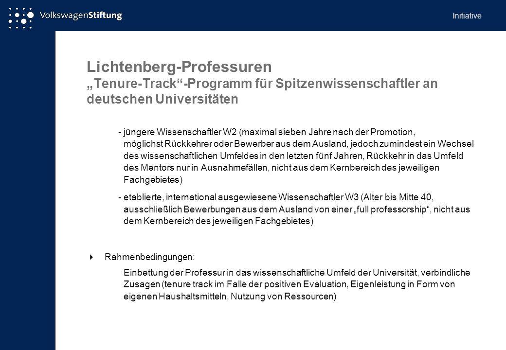 """Initiative Lichtenberg-Professuren """"Tenure-Track -Programm für Spitzenwissenschaftler an deutschen Universitäten."""