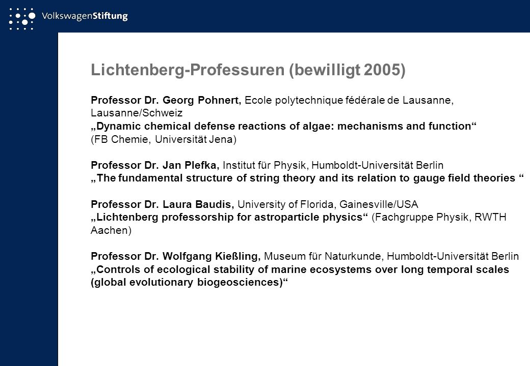 Lichtenberg-Professuren (bewilligt 2005)