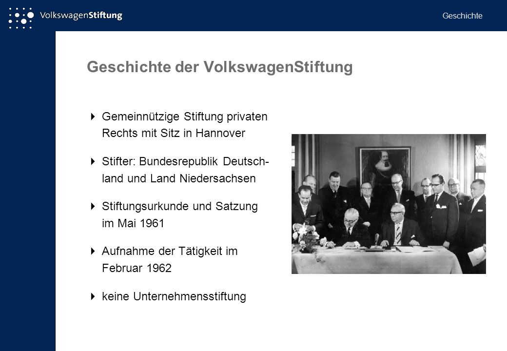 Geschichte der VolkswagenStiftung