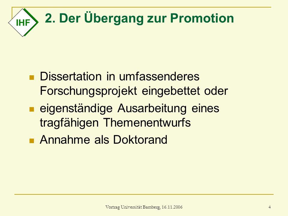 2. Der Übergang zur Promotion