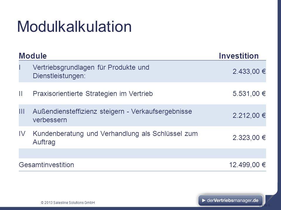 Modulkalkulation Module Investition