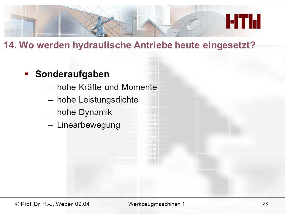 14. Wo werden hydraulische Antriebe heute eingesetzt