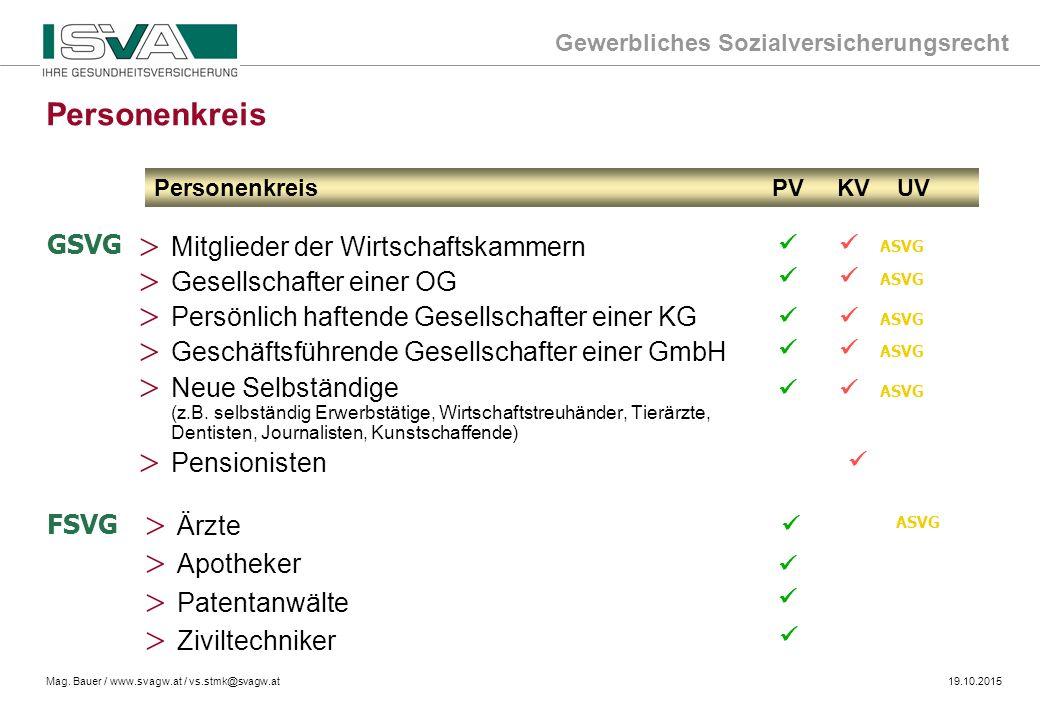 Personenkreis GSVG Mitglieder der Wirtschaftskammern