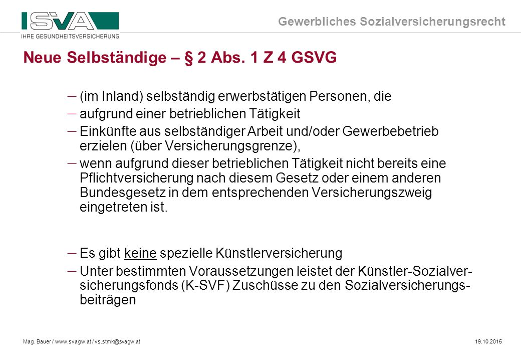 Neue Selbständige – § 2 Abs. 1 Z 4 GSVG