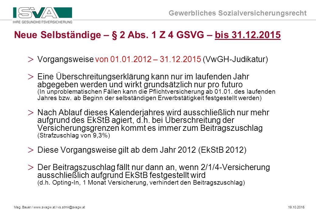 Neue Selbständige – § 2 Abs. 1 Z 4 GSVG – bis 31.12.2015
