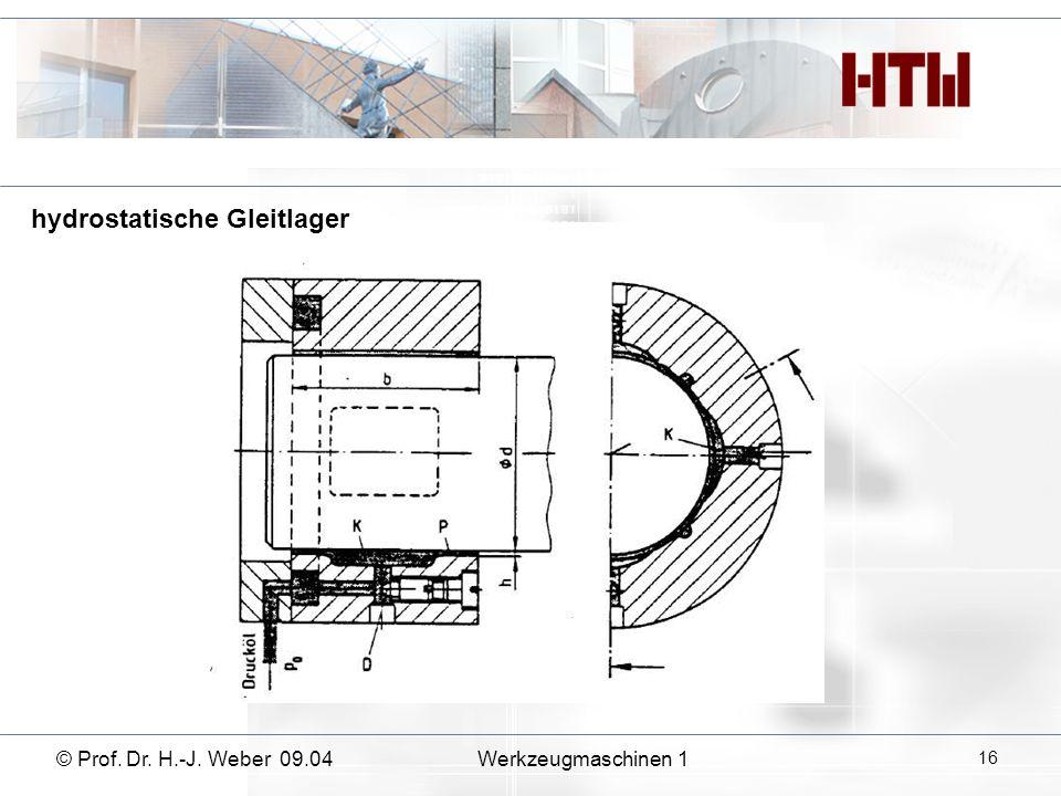 hydrostatische Gleitlager