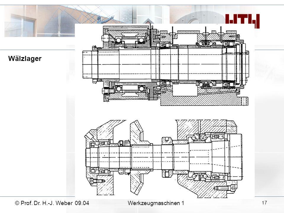 Wälzlager © Prof. Dr. H.-J. Weber 09.04 Werkzeugmaschinen 1