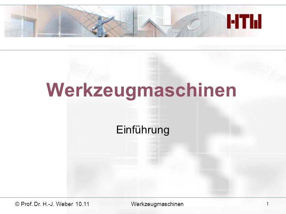 Werkzeugmaschinen Einführung © Prof. Dr. H.-J. Weber 10.11