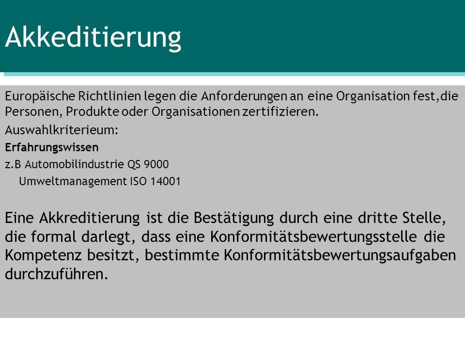 Akkeditierung Europäische Richtlinien legen die Anforderungen an eine Organisation fest,die Personen, Produkte oder Organisationen zertifizieren.