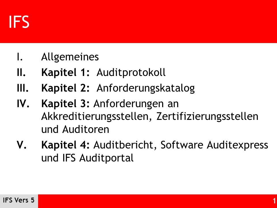IFS Allgemeines Kapitel 1: Auditprotokoll
