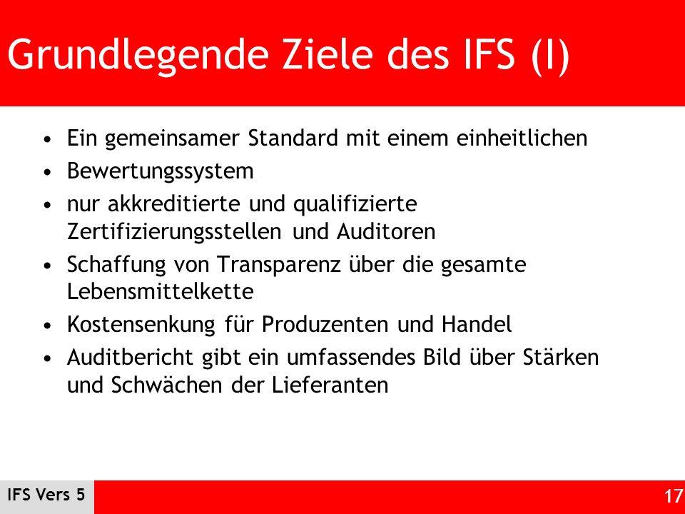 Grundlegende Ziele des IFS (I)