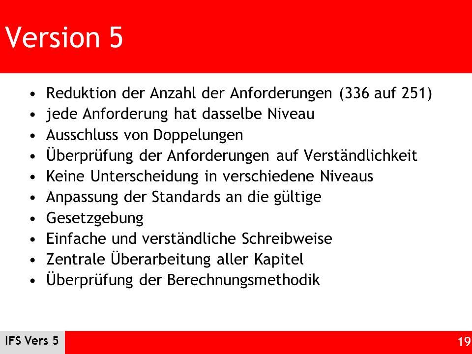Version 5 Reduktion der Anzahl der Anforderungen (336 auf 251)