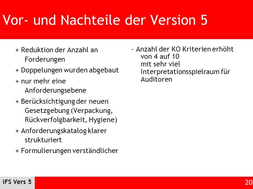 Vor- und Nachteile der Version 5