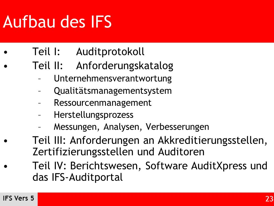 Aufbau des IFS Teil I: Auditprotokoll Teil II: Anforderungskatalog
