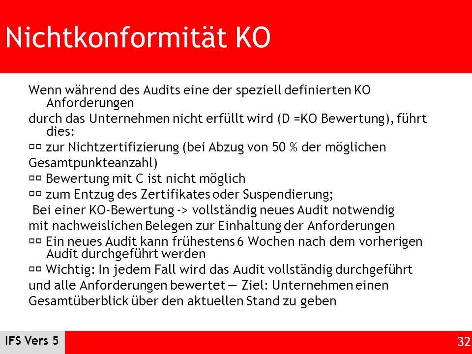 Nichtkonformität KO Wenn während des Audits eine der speziell definierten KO Anforderungen.
