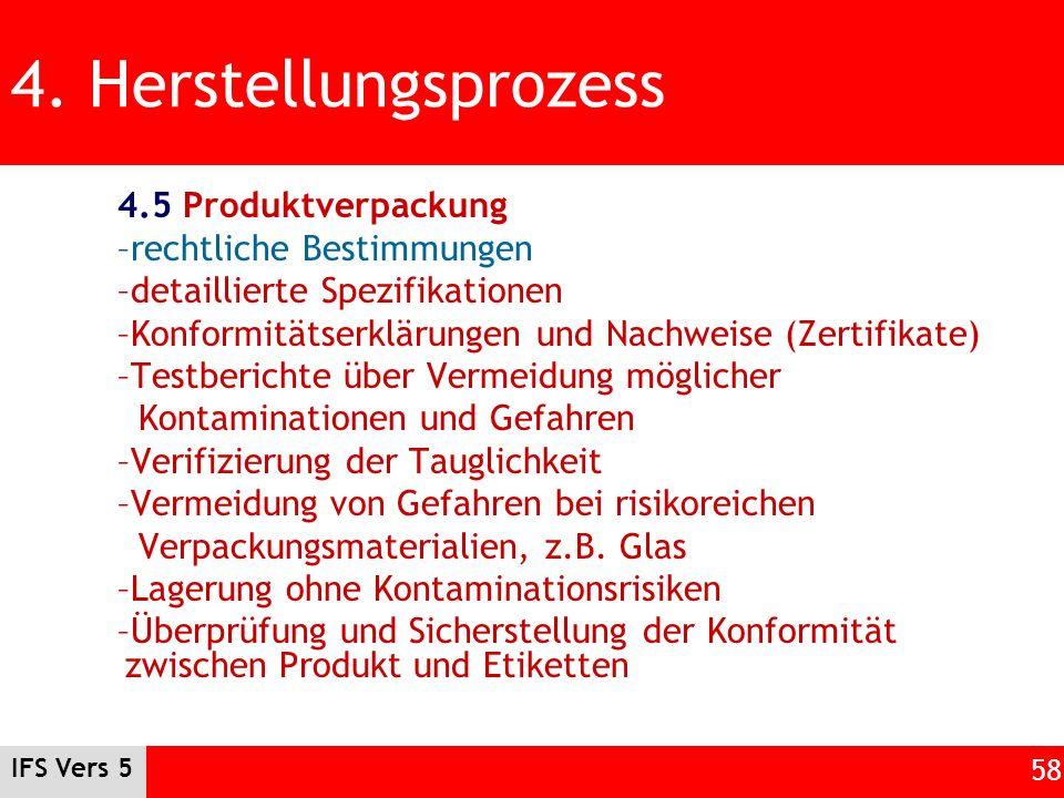 4. Herstellungsprozess 4.5 Produktverpackung rechtliche Bestimmungen