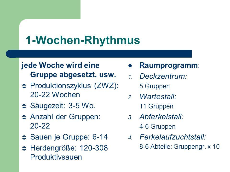 1-Wochen-Rhythmus jede Woche wird eine Gruppe abgesetzt, usw.
