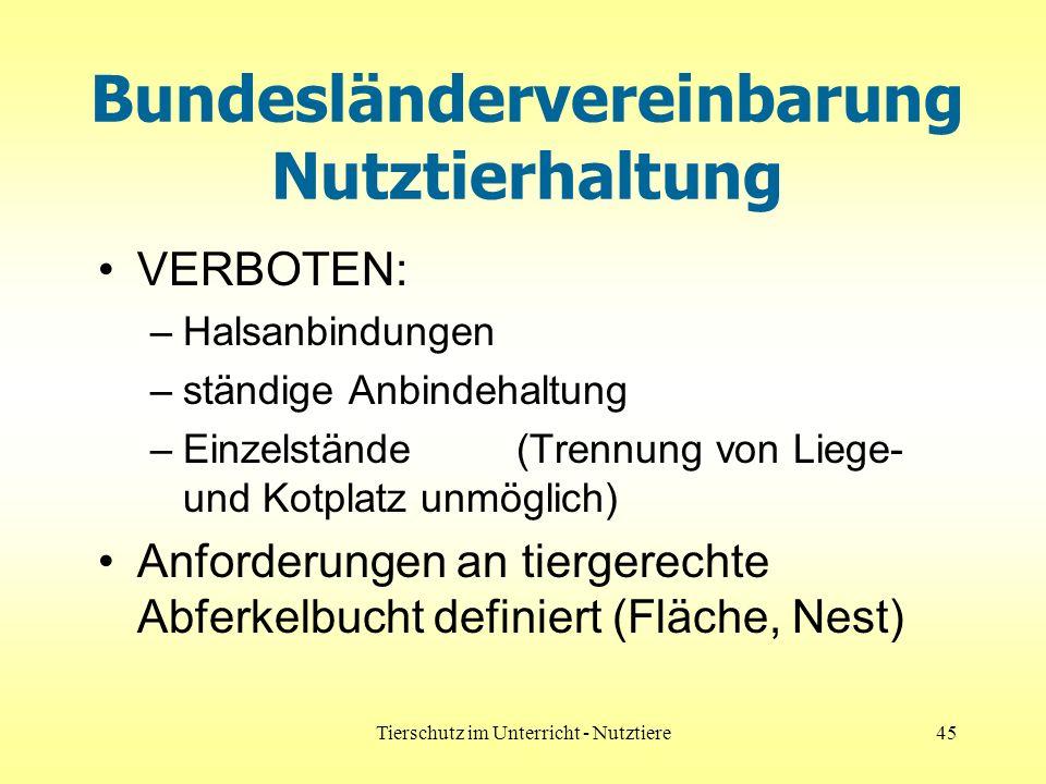 Bundesländervereinbarung Nutztierhaltung