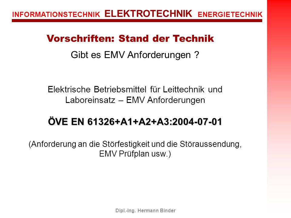 Vorschriften: Stand der Technik Dipl.-Ing. Hermann Binder