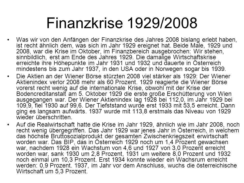 Finanzkrise 1929/2008