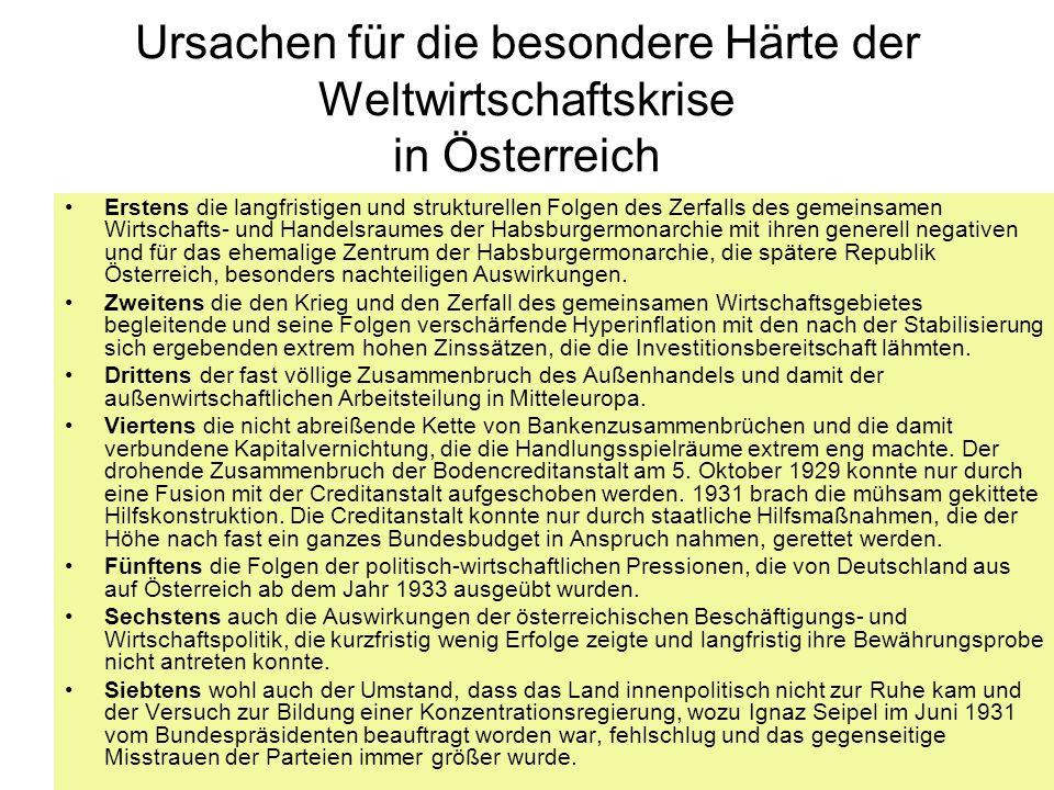 Ursachen für die besondere Härte der Weltwirtschaftskrise in Österreich